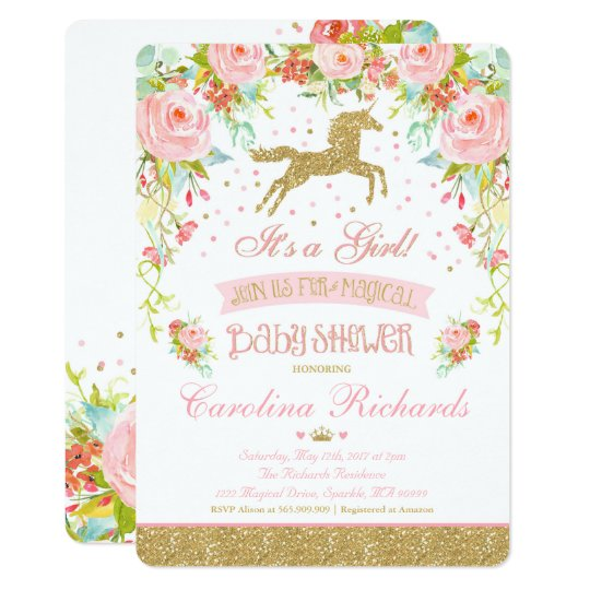 Elegant Unicorn Baby Shower Invitation