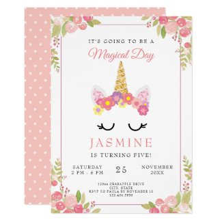 Elegant Unicorn Floral birthday Polka Dots Invitation