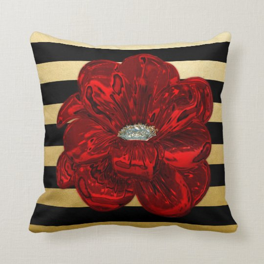 Elegant Unique Black Gold Bloomed Red Rose Throw