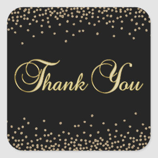 Elegant Unique Black Gold Confetti Thank You Square Sticker