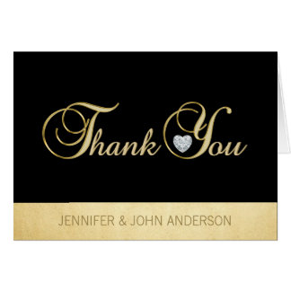 Elegant Unique Black Gold Foil Wedding Thank You Card