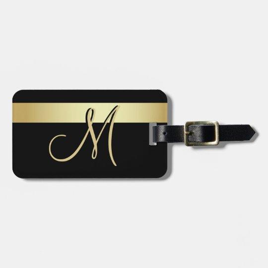 Elegant Unique Black Gold Monogram Letter Initial Luggage