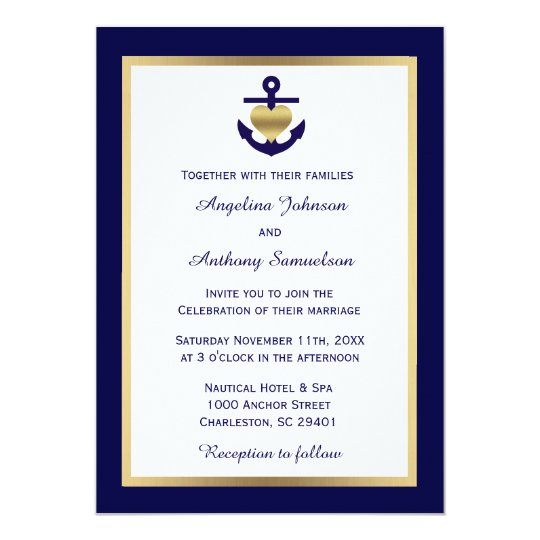 Elegant Unique Navy Blue Nautical Wedding Invites