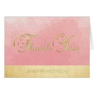 Elegant Unique Pink Watercolor Gold Foil Thank You Card