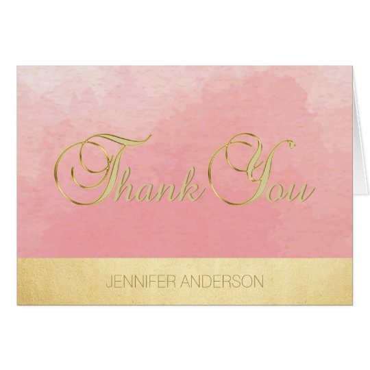 Elegant Unique Pink Watercolor Gold Foil Thank You