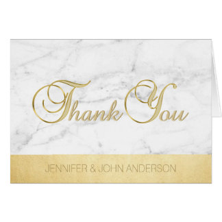 Elegant Unique White Marble Gold Foil Thank You Card