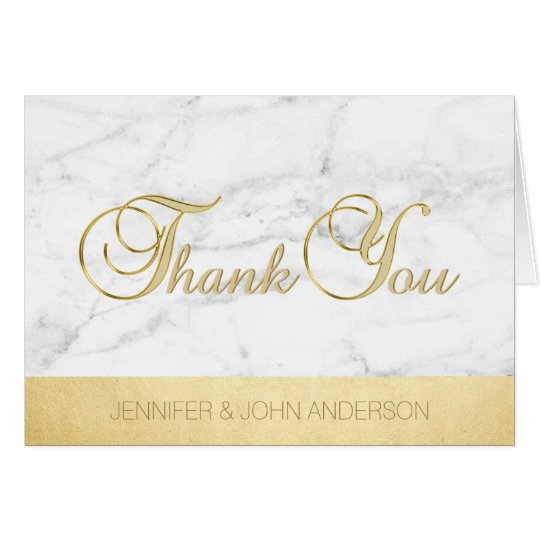 Elegant Unique White Marble Gold Foil Thank You