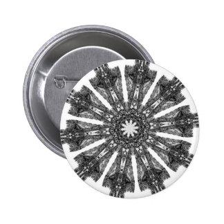 Elegant Victorian Black White Parasol Kaleidoscope Pinback Buttons