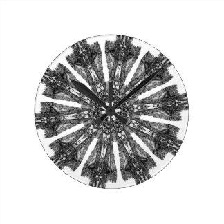 Elegant Victorian Black White Parasol Kaleidoscope Round Wallclocks