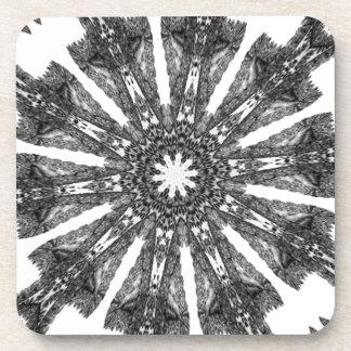Elegant Victorian Black White Parasol Kaleidoscope Coasters