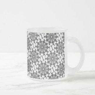 Elegant Victorian Black White Parasol Kaleidoscope Frosted Glass Mug