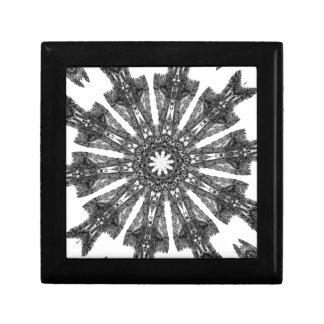 Elegant Victorian Black White Parasol Kaleidoscope Trinket Box