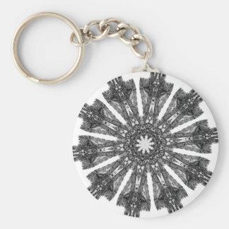 Elegant Victorian Black White Parasol Kaleidoscope Key Chains