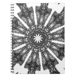 Elegant Victorian Black White Parasol Kaleidoscope Spiral Note Book