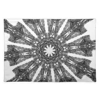 Elegant Victorian Black White Parasol Kaleidoscope Place Mats