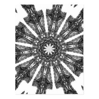 Elegant Victorian Black White Parasol Kaleidoscope Postcard