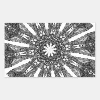 Elegant Victorian Black White Parasol Kaleidoscope Rectangular Sticker
