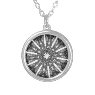 Elegant Victorian Black White Parasol Kaleidoscope Silver Plated Necklace
