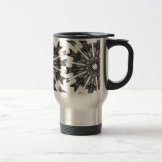 Elegant Victorian Black White Parasol Kaleidoscope Stainless Steel Travel Mug