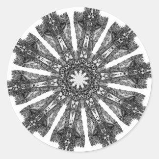 Elegant Victorian Black White Parasol Kaleidoscope Round Sticker