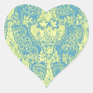 Elegant Victorian Damask Pattern Design Heart Sticker