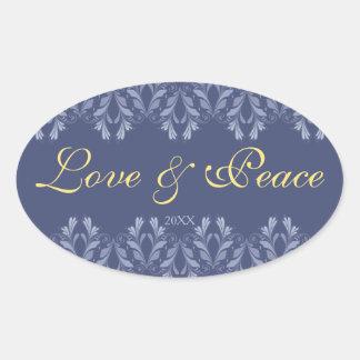 Elegant Victorian floral pattern Holidays Oval Sticker
