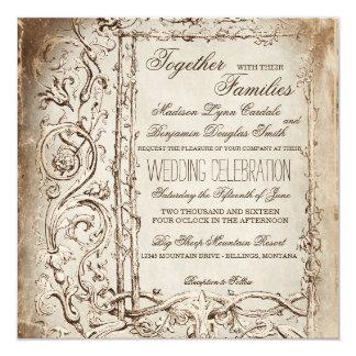 Elegant Victorian Frame Rustic Wedding Invitations