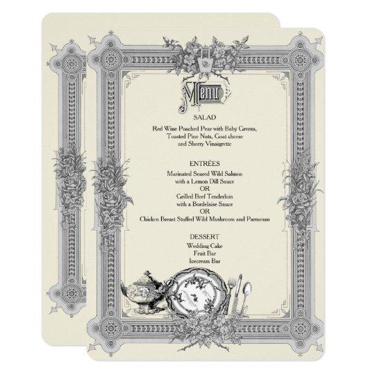 Elegant, Victorian Frame, Vintage Wedding Menu Card