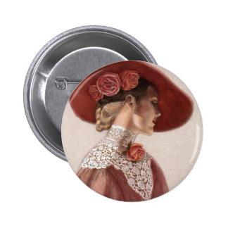 Elegant Victorian Lady Fine Art Vintage Rose Hat 6 Cm Round Badge