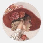 Elegant Victorian Lady Fine Art Vintage Rose Hat Round Sticker