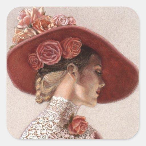 Elegant Victorian Lady Fine Art Vintage Rose Hat Square Stickers
