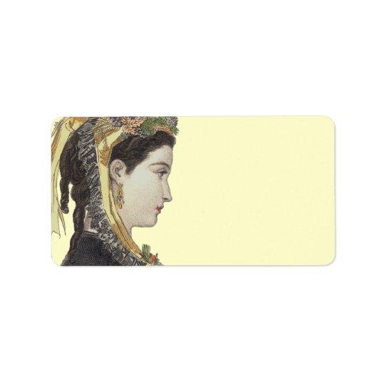 Elegant Victorian Lady in Profile Colour Address Label