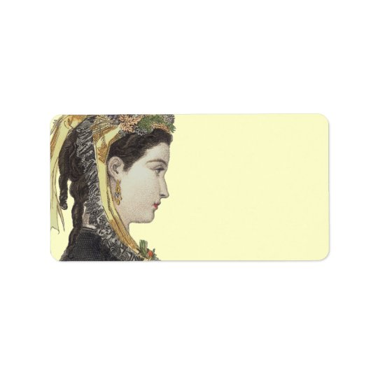 Elegant Victorian Lady in Profile Colour Label