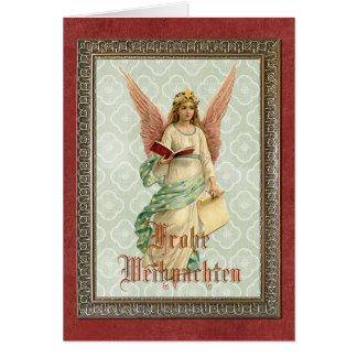 Elegant Victorian Vintage Christmas Angel Card