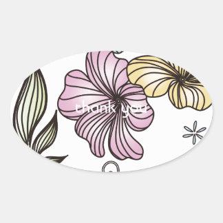 Elegant Victorian Vintage Flowers Oval Sticker