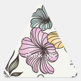 Elegant Victorian Vintage Flowers Triangle Sticker