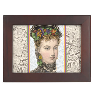 Elegant Victorian Woman With Pansey Bonnet Keepsake Box