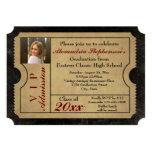 Elegant Vintage Admission Ticket Photo Graduation 13 Cm X 18 Cm Invitation Card