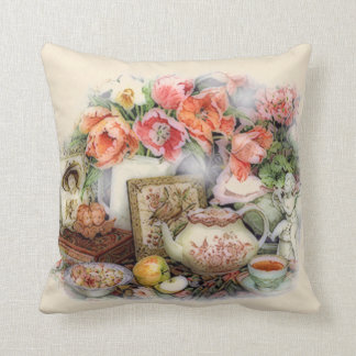 Elegant Vintage Antique Victorian Tea Room Decor Throw Pillow