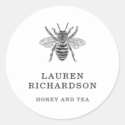 Elegant Vintage Bee Classic Round Sticker