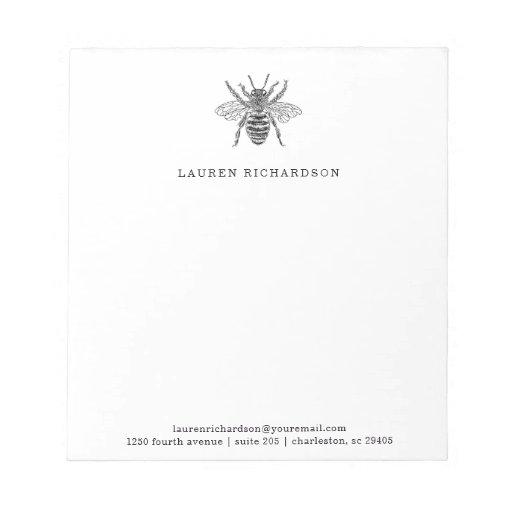 Elegant Vintage Bee Notepad