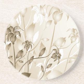 Elegant Vintage Beige Lilies Beverage Coaster