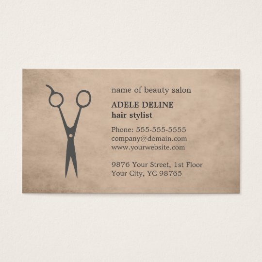 Elegant Vintage Beige Scissor Hair Stylist Business Card