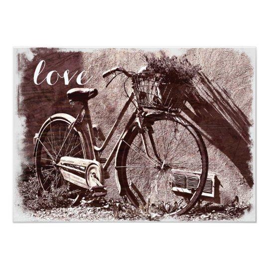 Elegant Vintage Bicycle Love Wedding Invitations
