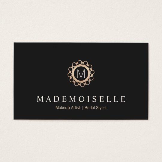 Elegant Vintage Black and Gold Monogram Business Card