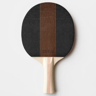 Elegant Vintage Black & Brown Stitched Leather Ping Pong Paddle