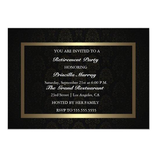 Elegant Vintage Black & Gold Retirement Party Card