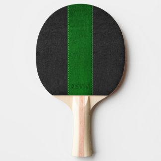 Elegant Vintage Black & Green Stitched Leather Ping Pong Paddle