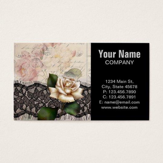 Elegant vintage black lace white rose business card