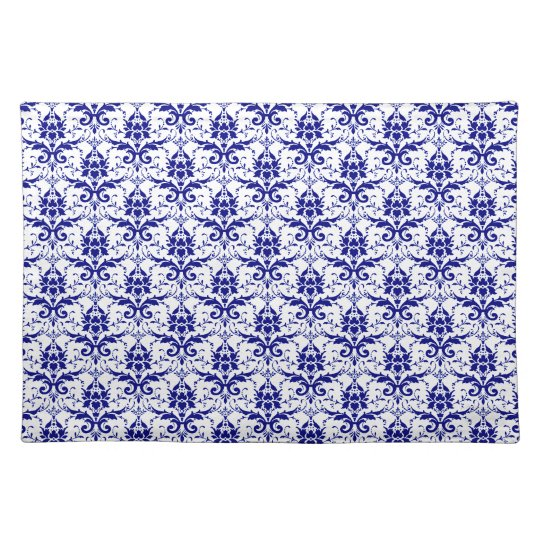 Elegant Vintage Blue and White Damask Pattern Place Mats